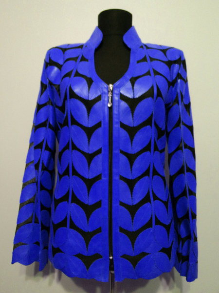 Blue Leather Leaf Jacket for Women V Neck Design 09 Genuine Short Zip Up Light Lightweight [ Click to See Photos ]