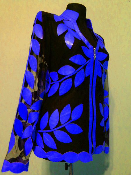 Blue Leather Leaf Jacket for Women V Neck Design 10 Genuine Short Zip Up Light Lightweight