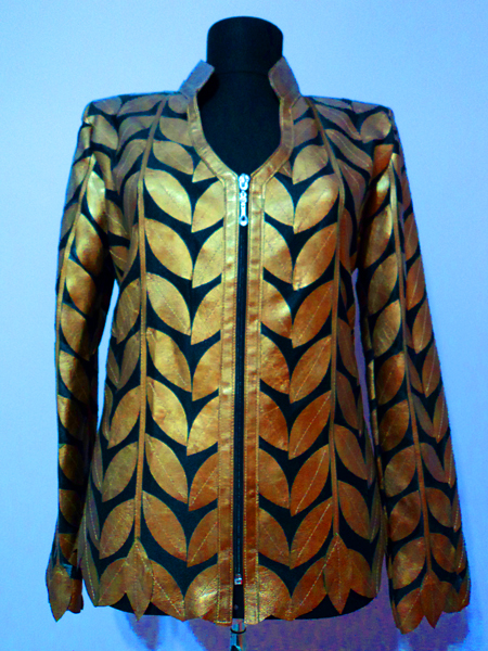Gold Leather Leaf Jacket for Women V Neck Design 08 Genuine Short Zip Up Light Lightweight [ Click to See Photos ]