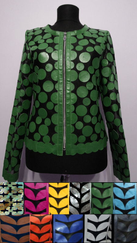 Meshed Leather Leaf Jacket for Women Design 07 Genuine Short Zip Up Light Lightweight [ Click to See Photos ]