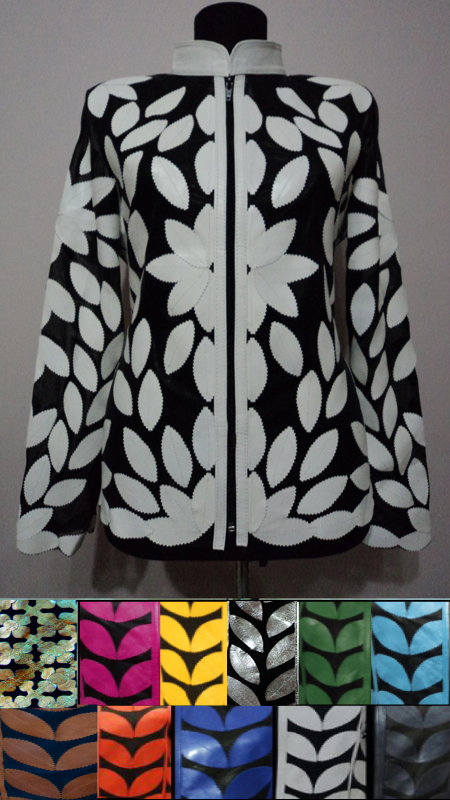 Meshed Leather Leaf Jackets for Women [ Click to See Available Colors ]