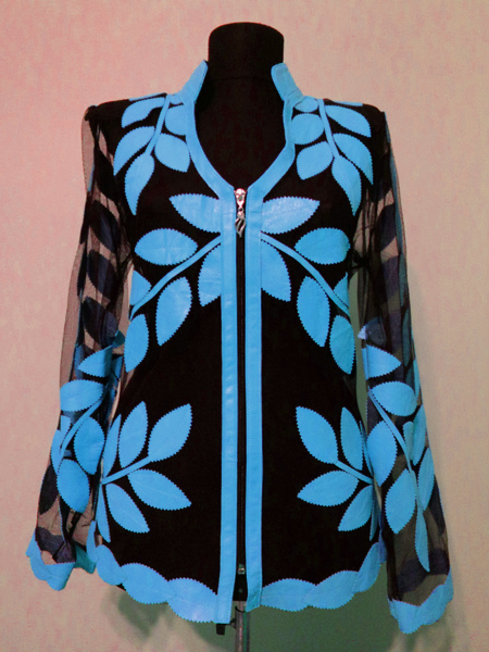Light Blue Leather Leaf Jacket for Women V Neck Design 10 Genuine Short Zip Up Light Lightweight [ Click to See Photos ]
