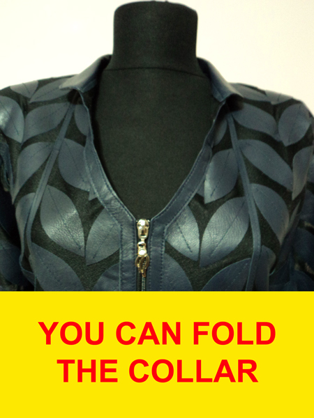 Navy Blue Leather Leaf Jacket for Women V Neck Design 08 Genuine Short Zip Up Light Lightweight
