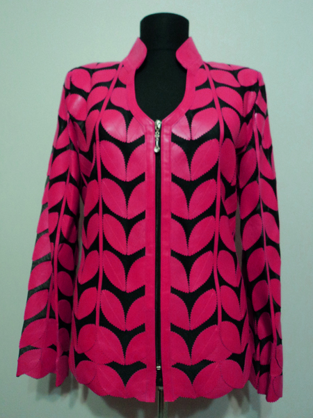 Pink Leather Leaf Jacket for Women V Neck Design 09 Genuine Short Zip Up Light Lightweight