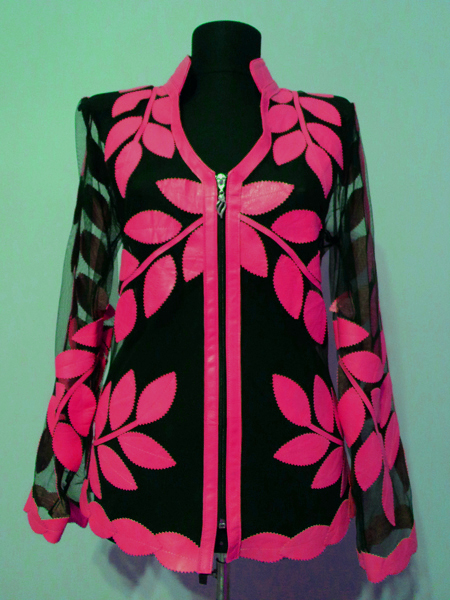 Pink Leather Leaf Jacket for Women V Neck Design 10 Genuine Short Zip Up Light Lightweight