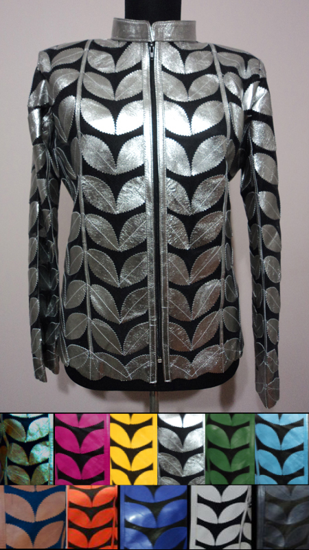 Plus Size Meshed Leather Leaf Jackets for Women [ Click to See Available Colors ]