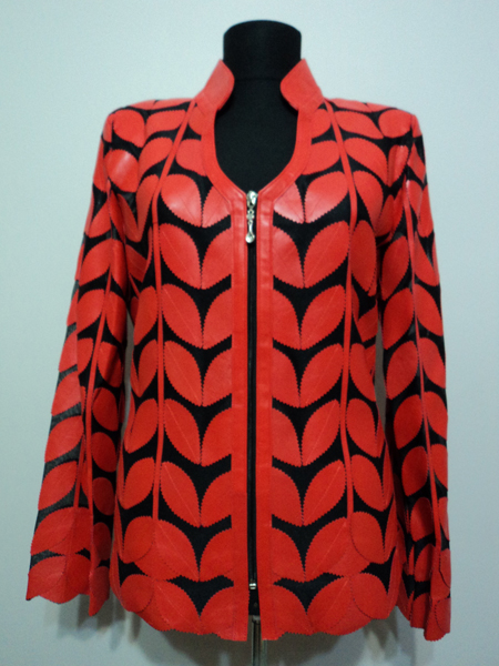Red Leather Leaf Jacket for Women V Neck Design 09 Genuine Short Zip Up Light Lightweight [ Click to See Photos ]