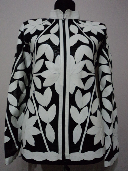 White Leather Leaf Jacket for Women