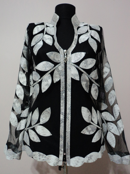 White Snake Pattern Leather Leaf Jacket for Women V Neck Design 10 Genuine Short Zip Up Light Lightweight