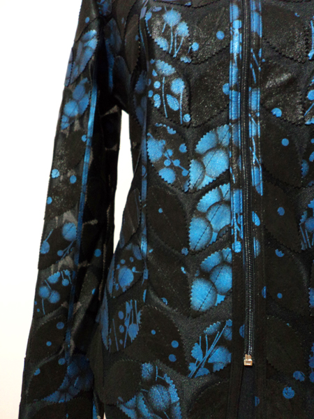 Blue Spotted Black Leather Leaf Jacket for Women