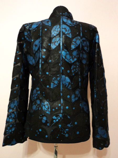 Plus Size Blue Spotted Black Leather Leaf Jacket for Women