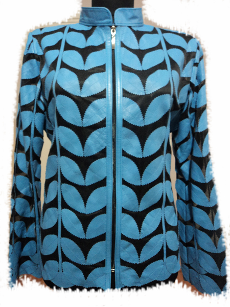 Plus Size Light / Ice / Baby Blue Leather Leaf Jacket for Women