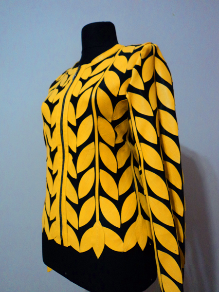Yellow Leather Leaf Jacket for Women Round Neck Design 11 Genuine Short Zip Up Light Lightweight